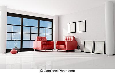 minimalist, kamer, levend