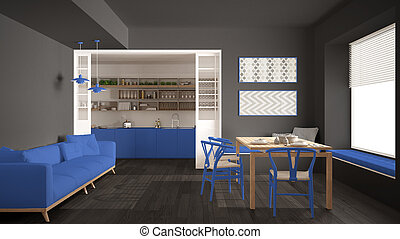 Minimalist kitchen and living room with sofa, table and chairs, gray and blue navy modern interior design