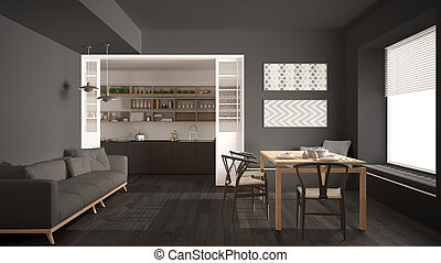 Scandinavian Kitchen With Sofa And Table Wooden Parquet