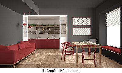 Minimalist, Kueche , Und, Wohnzimmer, Mit, Sofa, Tisch, Und,