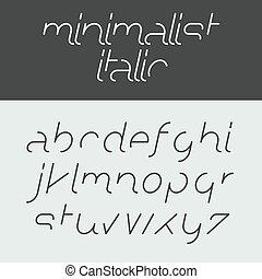 minimalist, kursiv, alfabet