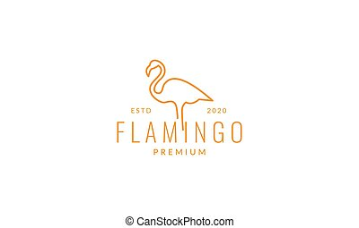 minimalist line flamingo bird logo vector illustration design