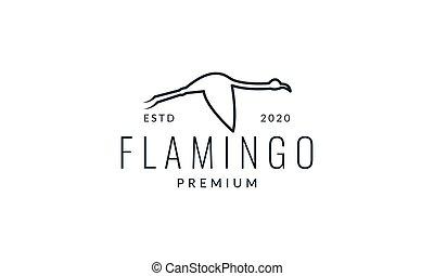 minimalist line flamingo fly logo vector illustration design
