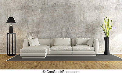 Minimalist living room with grunge concrete wall and white...