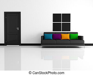 minimalist living room - black and white living room with...