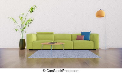 Minimalist living room interior with empty wall 4K - Bright...