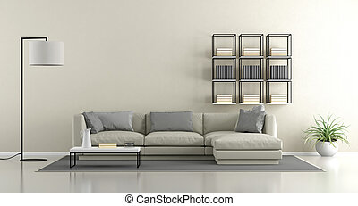 Minimalist living room - Minimalist lounge with sofa and...