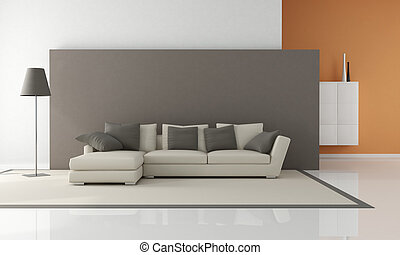 minimalist living room - modern couch in a minimalist lounge...