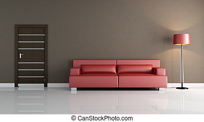 red leather sofa in a minimalist interior - render