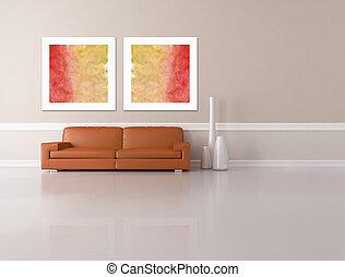 minimalist living room - rendering - dark orange sofa two...