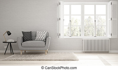 Minimalist Living Room Simple White With Big Window Scandinavian Classic Interior Design