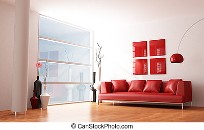 minimalist living room - red and white minimalist living...