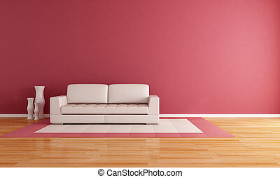 minimalist living room - white couch in a modern lounge -...