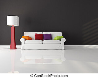 white couch with cushion in a black and white living room-rendering