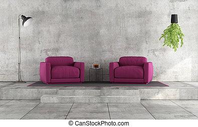 Minimalist living room with purple armchairs