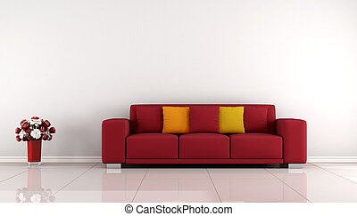 Minimalist living room with red sofa and white wall- 3D...