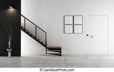 Minimalist living room with staircase - rendering - Black...