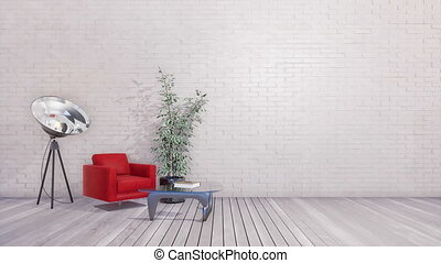 Minimalist loft interior with empty brick wall 3D - Red...