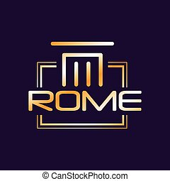 Minimalist logo of Rome city in gradient color. Capital of Italy. Creative geometric icon with roman column
