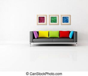 minimalist lounge - minimalist living room with colored...