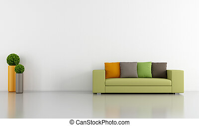 White Living room with colorful modern couch - rendering