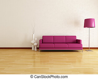 minimalist lounge - white lounge with purple fabric couch