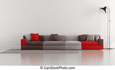 Minimalist lounge with colorful modern sofa and floor lamp -...