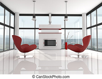 glass holiday villa with modern fire place - rendering, the image on background is a my photo