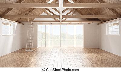 Minimalist mezzanine loft, empty industrial space, wooden...