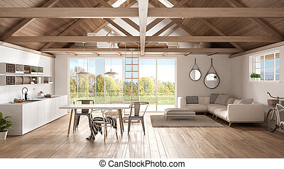 Minimalist mezzanine loft, kitchen, living and bedroom,...
