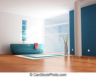 blue bathroom - minimalist modern blue bathroom - rendering