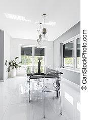 Minimalist modern dining room designed in white