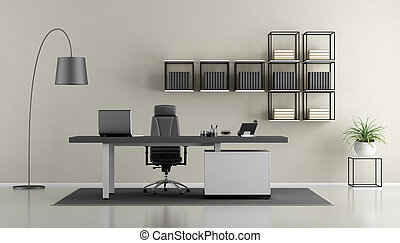 Contemporary office with minimalist furniture - 3d rendering