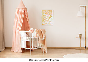Minimalist nursery with crib