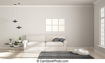 Minimalist Room Simple White And Gray Living With Big Window Scandinavian Classic Interior Design