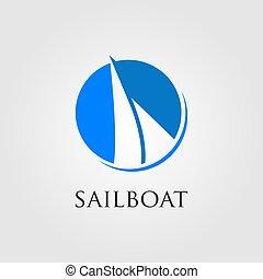 minimalist sailboat logo in negative space