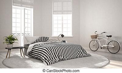 Minimalist scandinavian modern bedroom, classic nordic...
