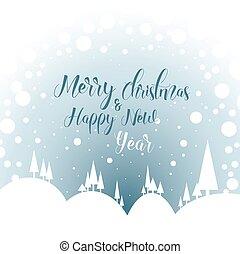 Minimalist snowy landscape as a Christmas card