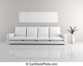 Minimalist sofa - A room with a minimalist white sofa and a...