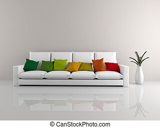 Minimalist sofa white - A room with a minimalist white sofa...