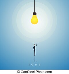 Minimalist stile Bulb light idea . New idea, change, trend, courage, creative solution, innovation and unique way concept.