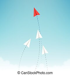 Minimalist stile red paper airplane show direction for white ones. Leader, boss, manager, winner concept.