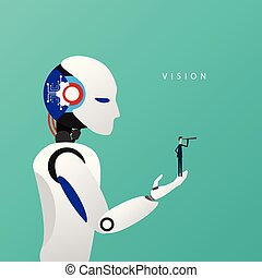 Minimalist stile. vector business finance. Successful vision concept with icon of businessman and telescope in robot hand, Symbol leadership, strategy, mission, objectives.