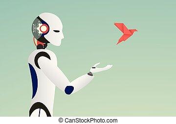Minimalist stile. vector of robot releasing a red paper bird...