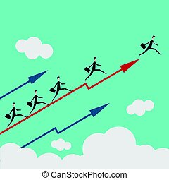 Minimalist style business People Group Run Team Leader On Arrow Competition Concept Flat Vector Illustration
