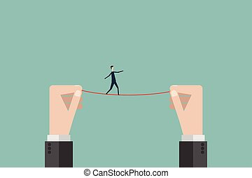 Minimalist style. vector business finance. business man walks a high wire tightrope, above risk and danger, the businessman balances Symbol leadership, strategy, mission, objectives