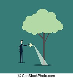 Minimalist style vector business finance growth concept. Businessman watering a tree brain.
