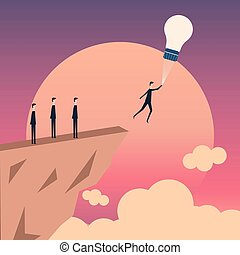 Minimalist style vector business finance growth and idea concept. light bulb and people standing. Teamwork brainstorming symbol