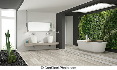 Minimalist white and gray bathroom with vertical and succulent garden, wooden floor and pebbles, hotel, spa, modern interior design