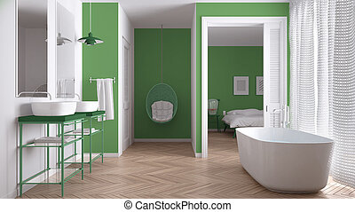 Minimalist white and green scandinavian bathroom with bedroom in background, classic interior design